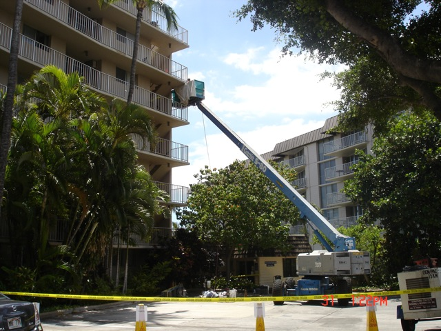 A boom lift was used to accomplish the repairs.
